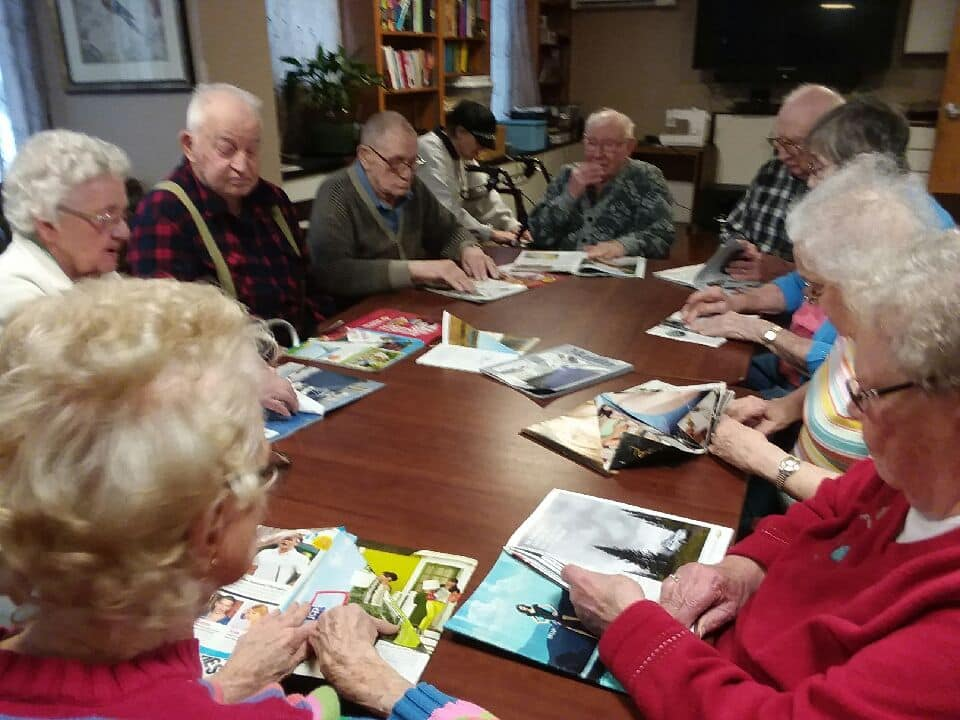 residents making cards