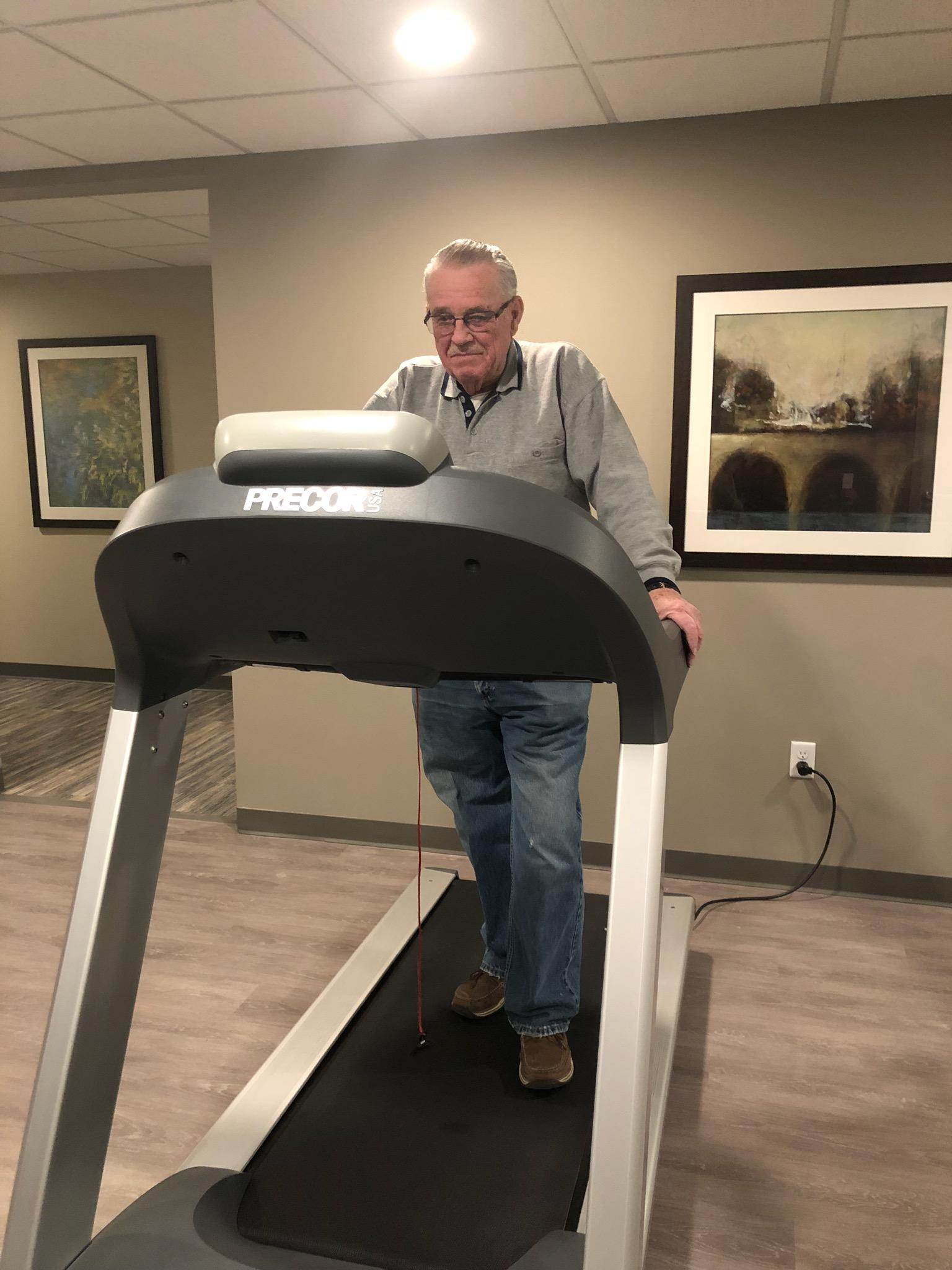 resident on treadmill